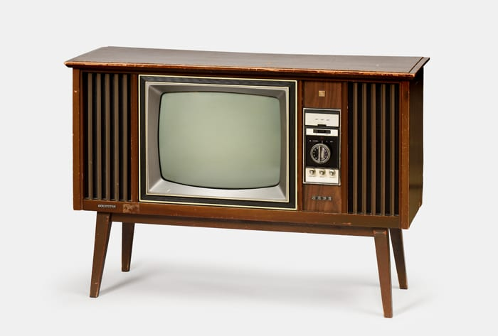 A black-and-white television set from the 1970s.