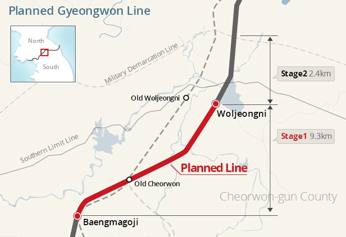The dotted line is the old route for the Gyeongwon Line. The thick red line is the newly planned route.