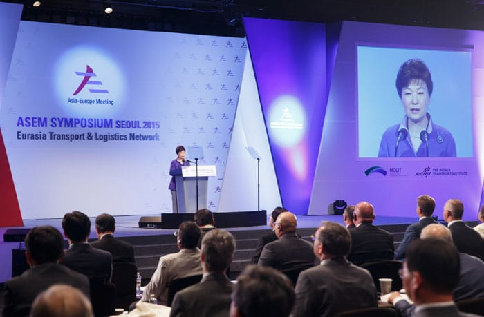 Park Geun-hye emphasizes mutual cooperation in order to make Eurasia into one continent, at the ASEM Symposium Seoul 2015 on Sept. 10 in Seoul.