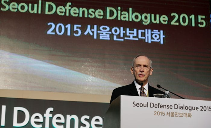 Edmund Mulet, assistant secretary-general for peacekeeping operations at the U.N., addresses the opening ceremony of the Seoul Defense Dialogue 2015 on Sept. 10.