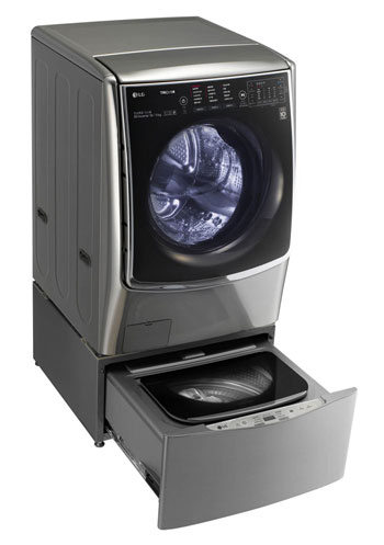 The LG Twin Wash can be both front loaded and top loaded, allowing customers to save both time and electricity by using both or one of the two washers.