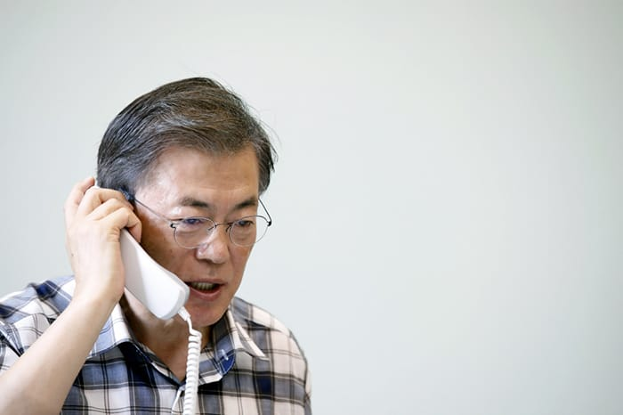 President Moon Jae-in holds a telephone conversation with U.S. President Donald Trump on the morning of Aug. 7. The two leaders discussed cooperation and joint response measures between Seoul and Washington regarding North Korea. (Cheong Wa Dae)