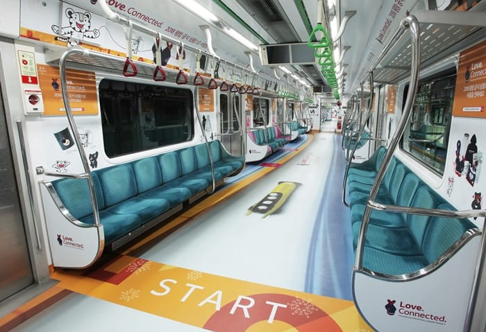 A PyeongChang Winter Olympics-themed subway car operates along subway line No. 2 six times a day until Jan. 23. (PyeongChang Olympic Organizing Committee)