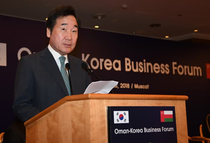Prime Minister Lee Nak-yon speaks at the South Korea-Oman business forum, at the Grand Hyatt Hotel in Muscat on July 25. (Prime Minister's Office)