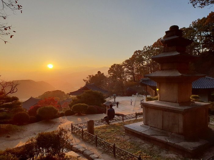 The Buddhist temple of Buseoksa at Sobaeksan National Park in Yeongju, Gyeongsangbuk-do Province, is a great yet relatively unknown sunset spot.