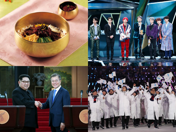 "According to an annual national image survey conducted by the Korean Culture and Information Service, 2018's top keywords about Korea were ""Korean food,"" ""K-pop"" and ""Korean culture."" Most respondents said the PyeongChang 2018 Winter Olympics and the three inter-Korean summits had a positive influence on the country's image abroad. (Korea.net DB)"