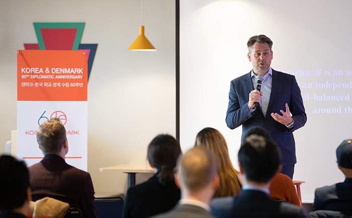 """Danish Tech Ambassador Casper Klynge on March 22 emphasizes the significance of expanding """"techplomacy"""" between Korea and Denmark in a discussion at Seoul Square in the capital's Jung-gu District."""