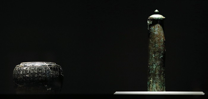 'Reliquary' (left, Unified Silla period, 863) and 'Reliquary With Inscription: Third Year of Zhonghe' (right, Unified Silla period, 883) are on display at the 'Devout Patrons of Buddhist Art' exhibit at the National Museum of Korea.