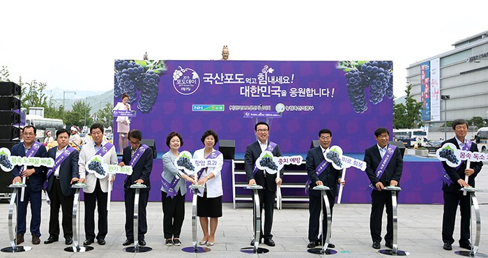 A ceremony is held to officially mark Grape Day 2015. Participants also opened grape promotional booths in Gwanghwamun Square on Aug. 6.