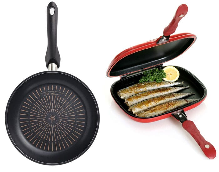 Happycall's plasma IH frying pan (left) and its double-sided pans are some of its best-selling items.