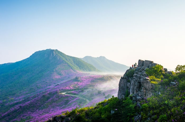 A photo of Hwangmaesan Mountain shows a breathtaking view of the mountain in Hapcheon-gun County, Gyeongsangnam-do (South Gyeongsang Province). It is one of the three bronze prize winners.
