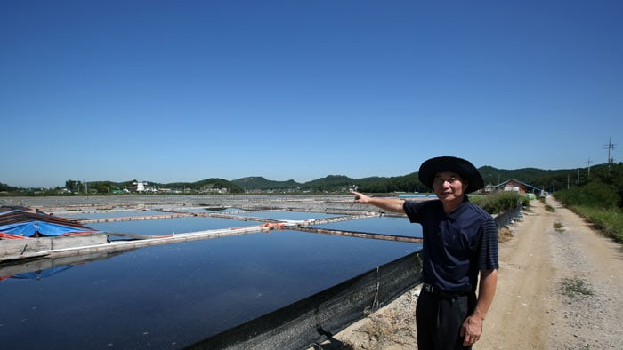 Chung Hong-sup, from the tourism promotion department in Ansan City, explains how to produce salt in a natural, environmentally-friendly manner using sea water that flows across the island through the mudflats.
