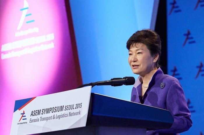 President Park Geun-hye speaks during the ASEM Symposium Seoul 2015 on Sept. 10 in Seoul.