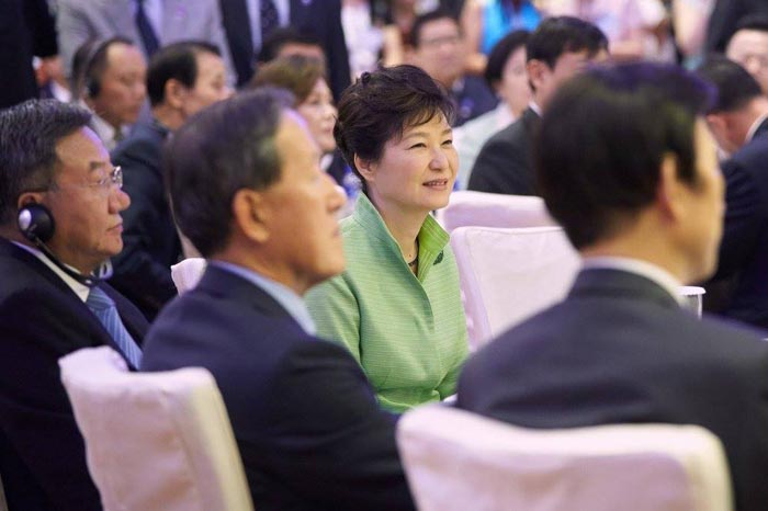 President Park Geun-hye attends a Korea-China business forum in Shanghai on Sept. 4.