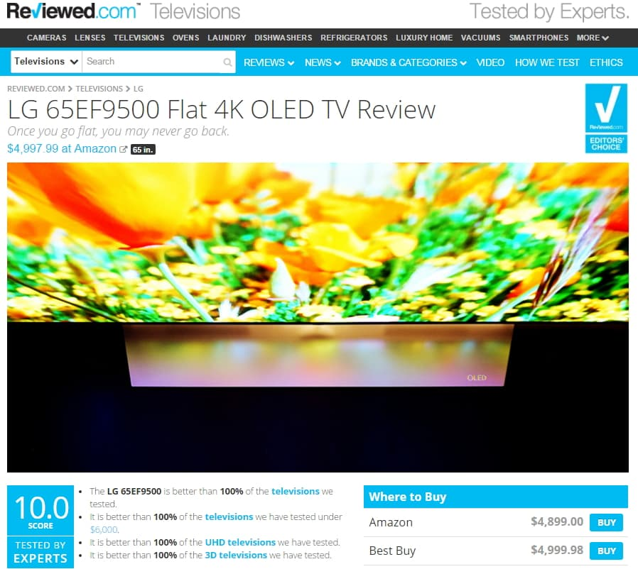 Reviewd.com, an IT review site run by USA Today, praised LG's OLED TVs, picking one of its models as an 'Editor's Choice' in August 2014.