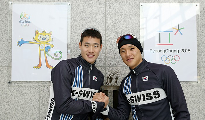 Kim Ji-hwan (left) and Heo Min-ho show their resolve to qualify for the 2016 Summer Olympics in Rio de Janeiro.