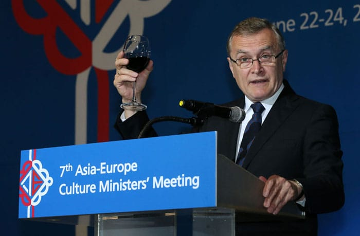 Piotr Gliński, deputy prime minister and minister for culture and national heritage in Poland, proposes a toast during the official dinner on June 22.
