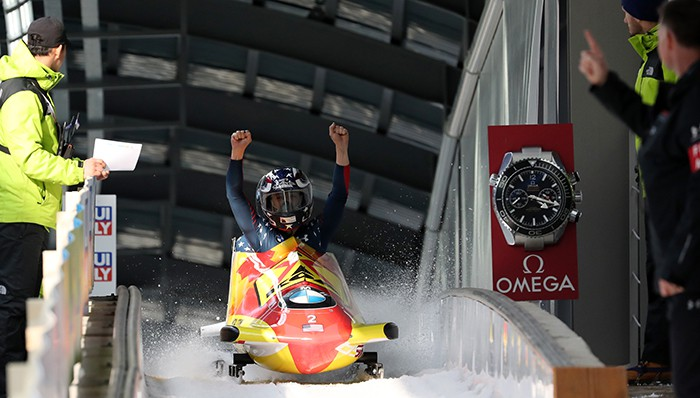 US women's bobsleigh team triumphs on next year's Olympic track